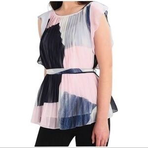 NWT Banana Republic Pink and Blue blouse Petite M